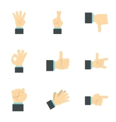 Gesture icons set flat style vector