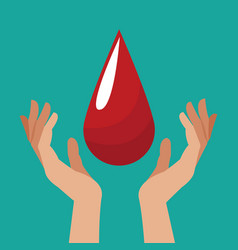 Hand with blood drop design vector