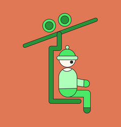 Icon in flat design man on ski lift vector