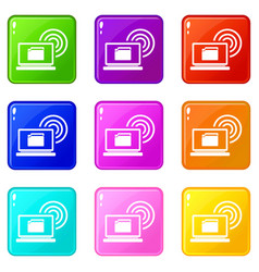 laptop and and wireless icons 9 set vector image vector image