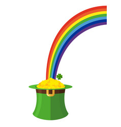 Leprechaun hat and rainbow st patricks day in vector