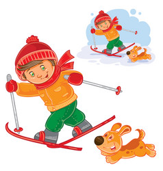 little child going skiing vector image