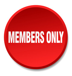 Members only red round flat isolated push button vector