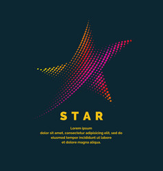 Modern colored logo star in a futuristic style vector