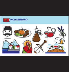 montenegro travel destination promotional poster vector image
