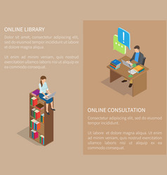 online library and consultation template poster vector image