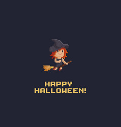 pixel art witch vector image vector image