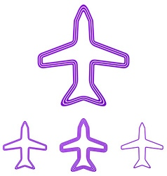 Purple line airplane logo design set vector image