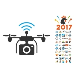 Radio camera drone icon with 2017 year bonus vector