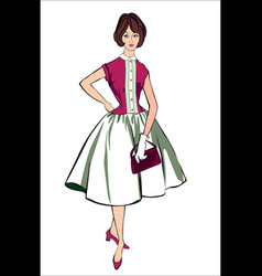 retro stylish fashion dressed girl vector image vector image