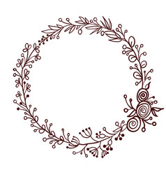 round frame of leaves isolated on white background vector image