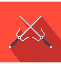 Sai weapon flat icon vector image vector image