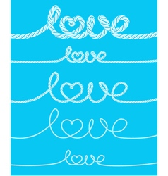 Set of love rope inscriptions vector image vector image