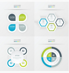 set of presentation design green blue gray color vector image vector image