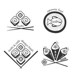 Set of sushi logosbadges labels and design vector image