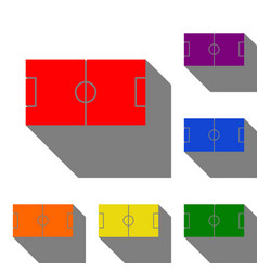 soccer field set of red orange yellow green vector image vector image