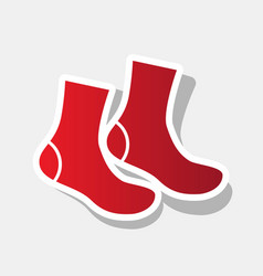 Socks sign new year reddish icon with vector