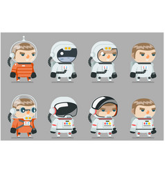 Space sci-fi cosmonaut astronaut spaceman icons vector