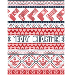 Tall xmas pattern with stockings in red blue vector