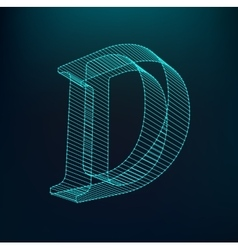 The letter D Polygonal letter Low poly model vector image vector image