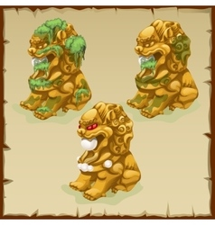 Three golden statues of a lion dirty and cleaned vector