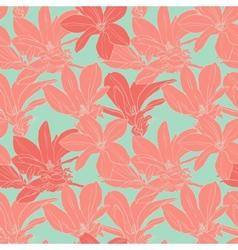 Vintage magnolia flowers seamless pattern vector image vector image