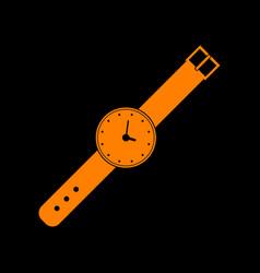 Watch sign orange icon on black vector