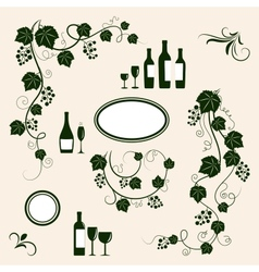 Winery design object silhouettes vector image