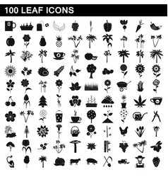 100 leaf icons set simple style vector image