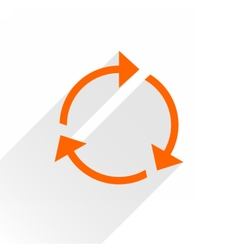 Flat orange arrow icon reload sign on white vector