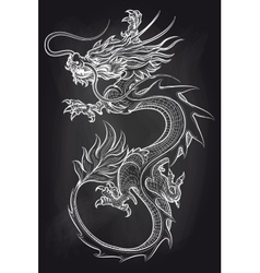 Chinese dragon on chalkboard backdrop vector