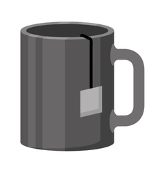 Monochrome color of cup with tea closeup vector