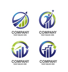 marketing finance success logo set vector image