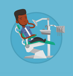 man suffering from toothache in dental chair vector image