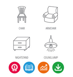 Ceiling lamp nightstand and armchair icons vector