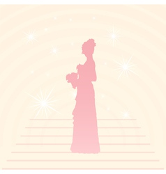 Young elegant bride holding flowers vector