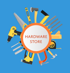 Hardware store banner with building tools vector