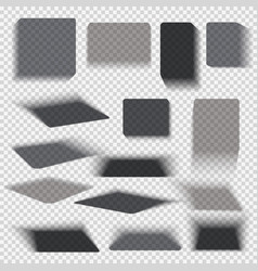 Transparent paper and objects box square shadows vector