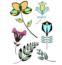 Flowers decor collection vector