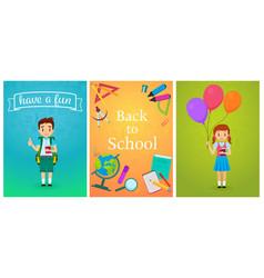 welcome back to school cute school pupils kids vector image