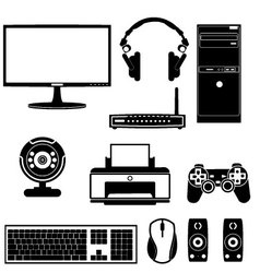 Computer components vector