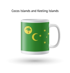 Cocos and keeling islands flag souvenir mug on vector