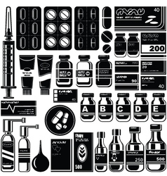 Set of medicament symbols vector