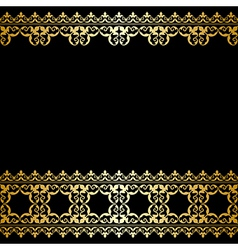 Black and gold background with vintage border vector