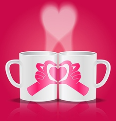 White cups with hands making heart shape vector