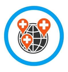 Global clinic company rounded icon vector