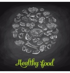 Hand drawn with healthy food vector