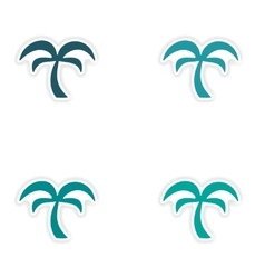 Assembly realistic sticker design on paper palms vector
