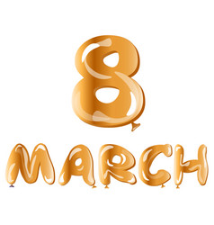 8 march gold ballons text vector