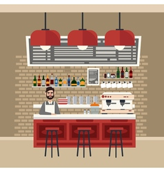 Cafe interior barman coffee house vector